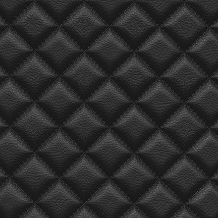Troy Diamond Quilted Faux Leather Black